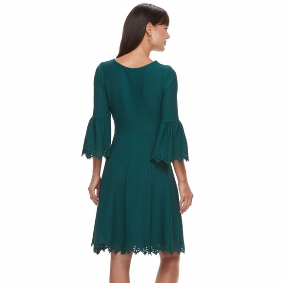 Elle Dresses & Skirts - ELLE laser cut bell sleeve casual dress